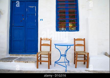 Langada village, Amorgos, Cyclades, Aegean, Greek Islands, Greece, Europe - Stock Photo