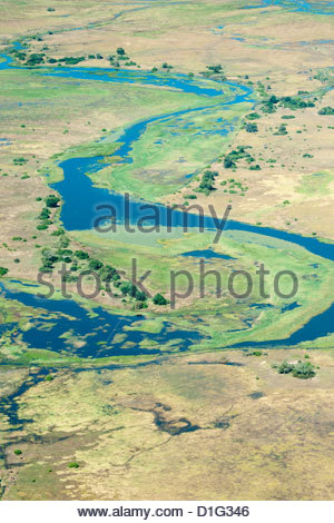 Aerial view of floodplains and islands along Zambezi and Chobe rivers confluence, eastern Caprivi Strip, Namibia - Stock Photo