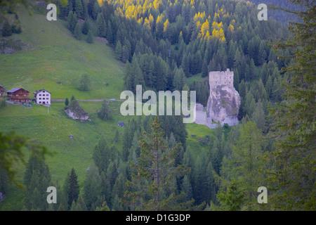 Castle, Passo Tre Croci, Belluno Province, Veneto, Italian Dolomites, Italy, Europe - Stock Photo