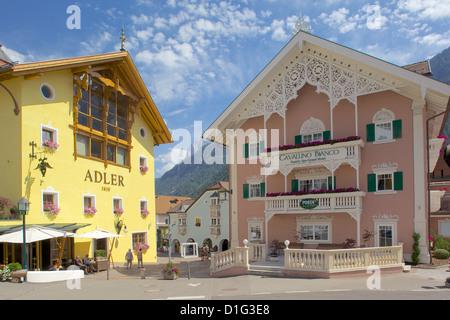 Hotels, Ortisei, Gardena Valley, Bolzano Province, Trentino-Alto Adige/South Tyrol, Italian Dolomites, Italy, Europe - Stock Photo