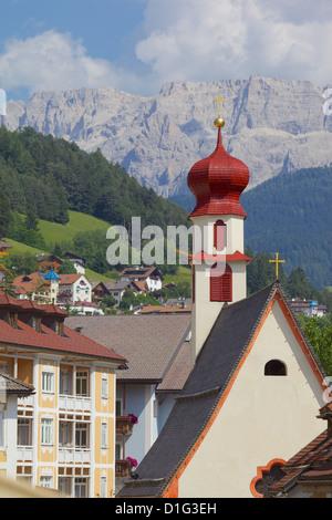 Houses and Little Church, Ortisei, Gardena Valley, Bolzano Province, Trentino-Alto Adige/South Tyrol, Italian Dolomites, - Stock Photo