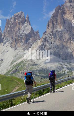 Hikers and Sassolungo Group, Sella Pass, Trento and Bolzano Provinces, Italian Dolomites, Italy, Europe - Stock Photo