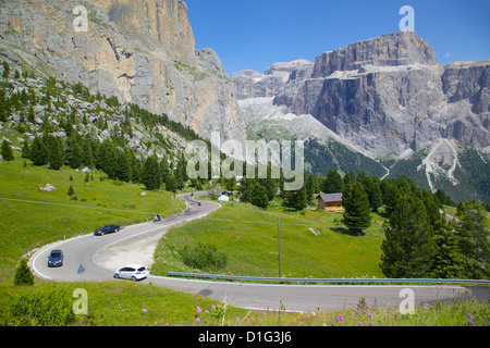 Road, Sella Pass, Trento and Bolzano Provinces, Italian Dolomites, Italy, Europe - Stock Photo