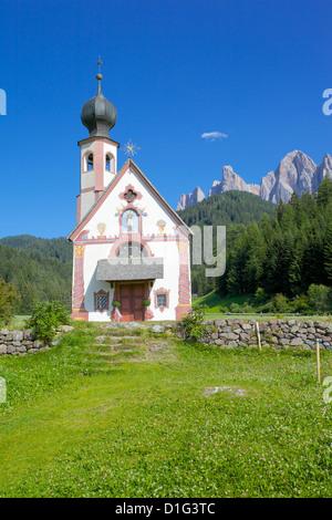 Church, Val di Funes, Bolzano Province, Trentino-Alto Adige/South Tyrol, Italian Dolomites, Italy, Europe - Stock Photo