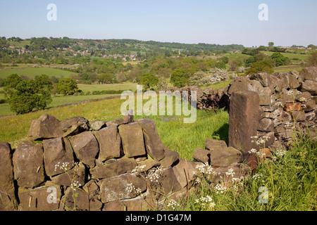 Landscape near Ashover and dry stone walls, Derbyshire, England, United Kingdom, Europe - Stock Photo