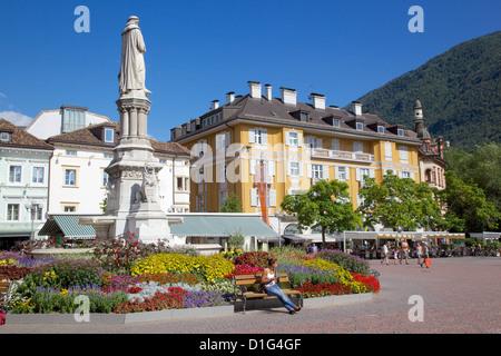 Walther Monument, Walther Platz, Bolzano, Bolzano Province, Trentino-Alto Adige, Italy, Europe - Stock Photo