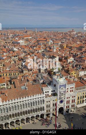 View from Campanile, Piazza San Marco, Venice, UNESCO World Heritage Site, Veneto, Italy, Europe - Stock Photo