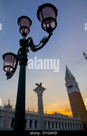 View of the Campanile at dusk, Piazza San Marco, Venice, UNESCO World Heritage Site, Veneto, Italy, Europe - Stock Photo