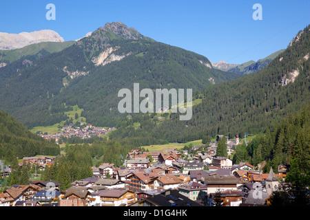 View over town, Canazei, Trentino-Alto Adige, Italy, Europe - Stock Photo