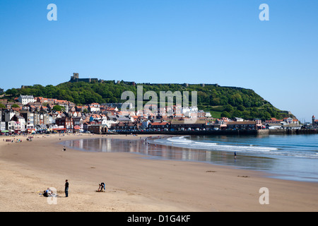 South Sands and Castle Hill, Scarborough, North Yorkshire, Yorkshire, England, United Kingdom, Europe - Stock Photo