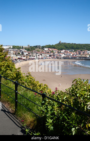 South Sands from the Cliff Top, Scarborough, North Yorkshire, Yorkshire, England, United Kingdom, Europe - Stock Photo