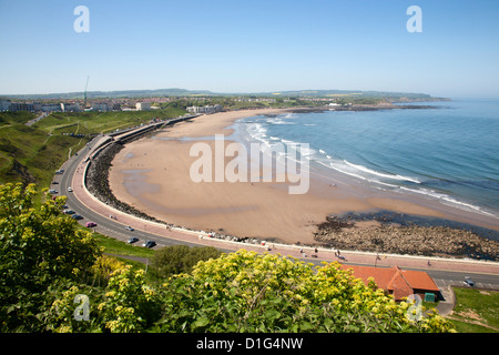North Sands from the Cliff Top, Scarborough, North Yorkshire, Yorkshire, England, United Kingdom, Europe - Stock Photo