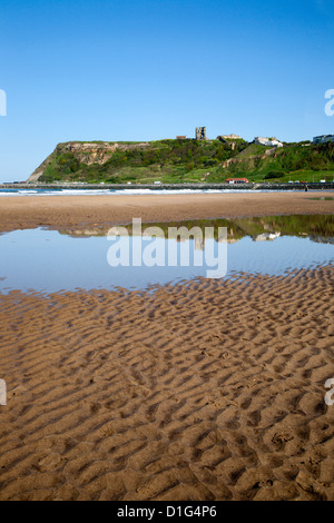 Castle Hill from North Sands, Scarborough, North Yorkshire, Yorkshire, England, United Kingdom, Europe - Stock Photo