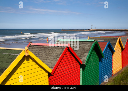 Beach huts at Whitby Sands, Whitby, North Yorkshire, Yorkshire, England, United Kingdom, Europe - Stock Photo