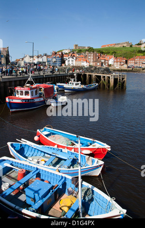 Fising boats in the Upper Harbour, Whitby, North Yorkshire, Yorkshire, England, United Kingdom, Europe - Stock Photo