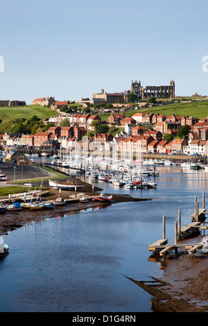 Whitby and the River Esk from the New Bridge, Whitby, North Yorkshire, Yorkshire, England, United Kingdom, Europe - Stock Photo
