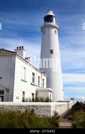 St. Mary's Lighthouse on St. Mary's Island, Whitley Bay, North Tyneside, Tyne and Wear, England, United Kingdom, - Stock Photo