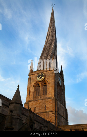 The Crooked Spire at the Parish Church of St. Mary and All Saints, Chesterfield, Derbyshire, England, United Kingdom, - Stock Photo