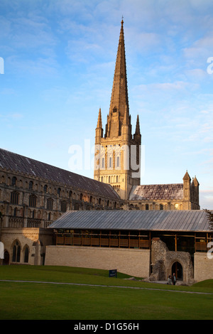 Last light on the spire at Norwich Cathedral, Norwich, Norfolk, England, United Kingdom, Europe - Stock Photo