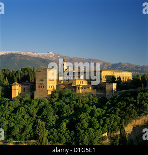 Alhambra Palace, UNESCO World Heritage Site, and Sierra Nevada mountains, Granada, Andalucia, Spain, Europe - Stock Photo