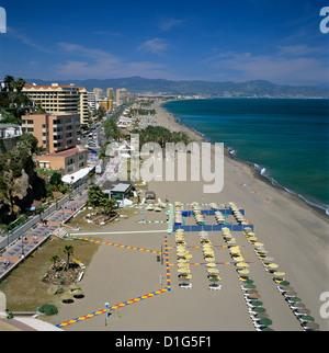 View along beach, Torremolinos, Costa del Sol, Andalucia, Spain, Mediterranean, Europe