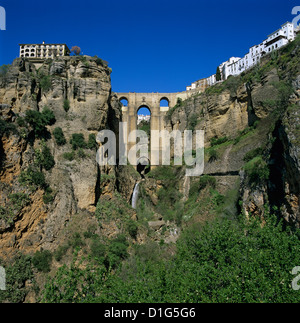 Old town and Puente Nuevo, Ronda, Andalucia, Spain, Europe - Stock Photo