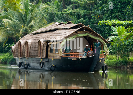 House boat on the Backwaters, near Alappuzha (Alleppey), Kerala, India, Asia - Stock Photo
