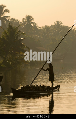 Sunset on the Backwaters, near Alappuzha (Alleppey), Kerala, India, Asia - Stock Photo