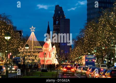 Christmas lights leading up to the Kaiser Wilhelm Memorial Church, Berlin, Germany, Europe - Stock Photo