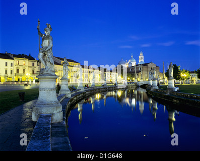 Prato della Valle and Santa Giustina at night, Padua, Veneto, Italy, Europe - Stock Photo