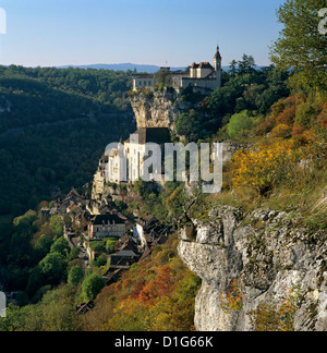 Autumnal view, Rocamadour, Lot, Midi-Pyrenees, France, Europe - Stock Photo