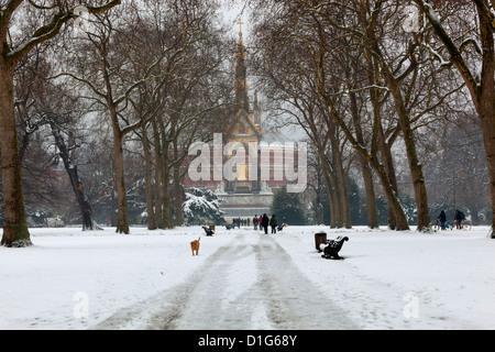 The Albert Memorial and Royal Albert Hall in winter, Kensington Gardens, London, England, United Kingdom, Europe - Stock Photo