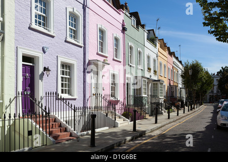 Pastel coloured terraced houses, Bywater Street, Chelsea, London, England, United Kingdom, Europe - Stock Photo