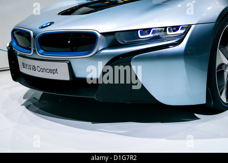 Electric sports car concept, BMW i8, at 2012 North American International Auto Show in Detroit - Stock Photo