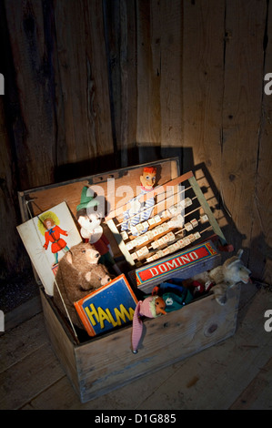 historic Toys, games and children's books - Stock Photo