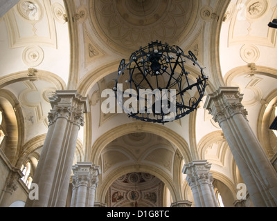 World Heritage Site Baeza ,Andalusia Spain, detail of church ceiling with columns an chandelier, Catedral de la - Stock Photo