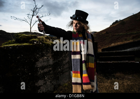 A man dressed as Dr Who in  'Post Apocalypse' style cosplay location photo-shoot in Bwlch Glas abandoned lead mine, - Stock Photo