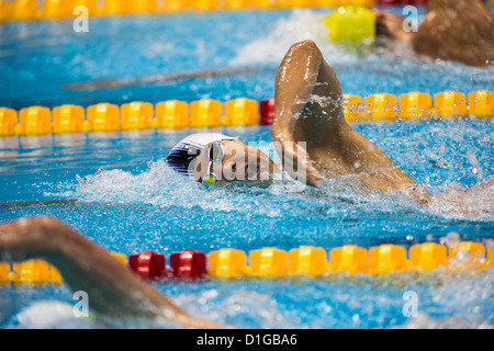Taehwan Park (KOR) competing Men's 400m Freestyle Heat at the 2012 Olympic Summer Games, London, England. - Stock Photo