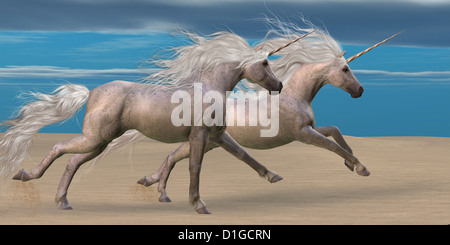 Two white unicorn horses gallop together in the desert. - Stock Photo