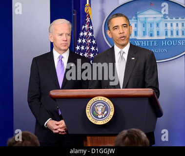 United States President Barack Obama makes a statement about how his administration will pursue a Weapons control - Stock Photo