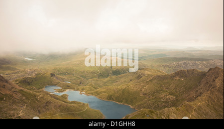 View of Llyn Llydaw from the peak of Snowdon, Snowdonia National Park, Gwynedd, Wales, United Kingdom, Europe - Stock Photo