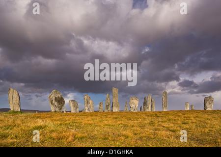 Showery weather at Callanish Stone Circle, Isle of Lewis, Outer Hebrides, Scotland, United Kingdom, Europe - Stock Photo