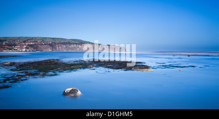 Robin Hood's Bay from Boggle Hole, North Yorkshire, Yorkshire, England, United Kingdom, Europe - Stock Photo