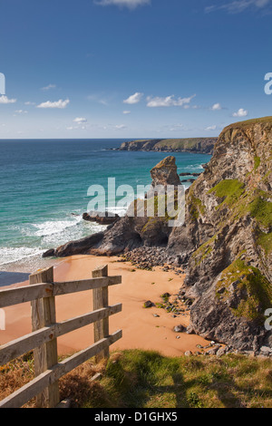 Looking down to the Bedruthan Steps on the north Cornwall coastline, Cornwall, England, United Kingdom, Europe - Stock Photo