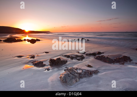 Dawn on Kennack Sands on the Lizard Peninsula in Cornwall, England, United Kingdom, Europe - Stock Photo