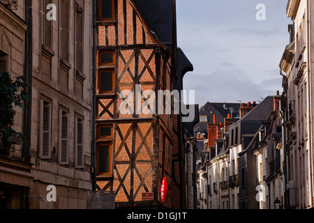 A street in Vieux or Old Tours, the city is in the UNESCO World Heritage Site, Loire Valley, Tours, Indre-et-Loire, - Stock Photo