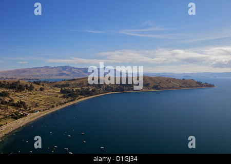 View of Copacabana and Lake Titicaca from Cerro Calvario, Copacabana, La Paz Department, Bolivia, South America - Stock Photo