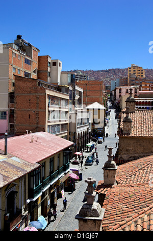 A high view of a street in La Paz, Bolivia, South America - Stock Photo