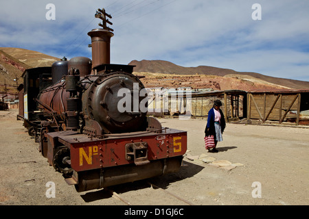 The old mining ghost town of Pulacayo, Industrial Heritage Site, famously linked to Butch Cassidy and the Sundance - Stock Photo