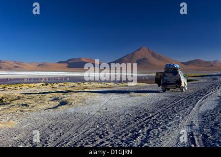 Laguna Colorada, a salt lake in the southwest of the altiplano, within Eduardo Avaroa Andean Fauna National Reserve, - Stock Photo